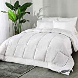 Bedsure Edredón/Relleno Nórdico de Verano para Cama 105 200x200 cm Blanco - 180 gr/m de Microfibra Suave y Hipoalergénico - Reversible Lavable para 4 Estaciones