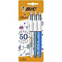BIC - Bolígrafo retráctil de 4 colores, 50 cumpleaños, punta mediana (1,0 mm)