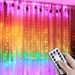 Anpro Luz Cadena Colorida, Luz de Cortina USB, 7 Colores con 280 Bombillas LED, 8 Modos de Luz, 3x2.8 m