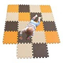 MQIAOHAM alfombra bebe carpet de espuma eva grande infantiles juguete manta parque play puzzle tapete Naranja-Marrón-Beige 102106110