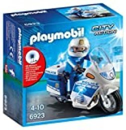 PLAYMOBIL City Action Policía con Moto y Luces LED, A partir de 5 años (6923)