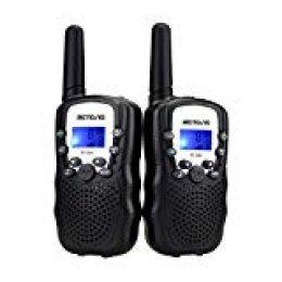 Retevis RT388 Walkie Talkie Niños PMR446 8 Canales LCD Pantalla VOX 10 Tonos de Llamada Linterna Incorporado Walkie-Talkie Niños Juguete Regalo para Niños (Negro, 1 Par)