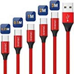 GIANAC Cable USB Tipo C, 5Pack[0.25M 0.5M 1M 2M 3M] 3A Cargador USB Tipo C Nylon Trenzado Cable USB C Carga Rápida y Sincronización de Datos para Samsung Galaxy S10 S9 S8, Huawei P30 P20 P10 Mate10