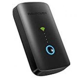 RAVPower Filehub Router Portátil WiFi, Amplificador/Repetidor WiFi, Lector de SD, Disco Duro Inalámbrico, Batería Externa 6000mAh, Hotspot, Acceso a Disco Duro y Pendrive USB, Compartido de Archivos