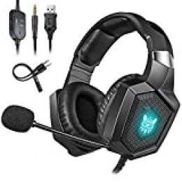 Cocoda Cascos Gaming para PS4 Xbox One(Necesita Adaptador)/S/X Nintendo Switch(Audio) PC Laptop, Auriculares Gaming con Microfono Estéreo Cancelación de Ruido, RGB Luz LED, Suave Memoria Orejeras