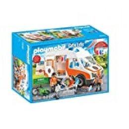 PLAYMOBIL City Life Ambulancia con Luces y Sonido, A partir de 4 años (70049)