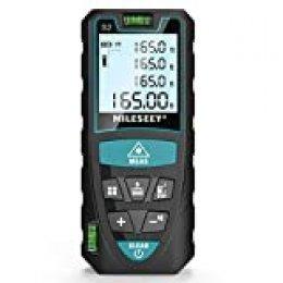 Medidor Laser de Distancia 50M,Mileseey Metro Laser IP54 con 2 Niveles de Burbuja, Medidor de Distancia Digital Portátil con Telémetro Láser con Pantalla LCD de 4 Líneas(Batería Incluida)