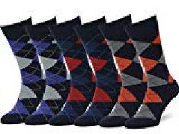 Easton Marlowe 6 PR Calcetines Estampados Hombre Argyle/Rombos - 6pk #2-7, Azul Marino Oscuro & Colores Brillantes - 43-46 EU shoe size