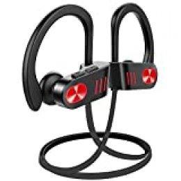 Auriculares inalámbricos Bluetooth, hasta 9 horas de tiempo de reproducción IPX8, impermeables, para gimnasio, ciclismo, entrenamiento, iPhone, iPad, Samsung, Siri con micrófono incorporado con cancelación de ruido