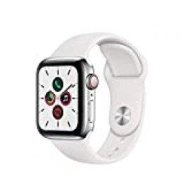 Apple Watch Series 5 (GPS+Cellular, 40 mm) Acero Inoxidable - Correa Deportiva Blanco