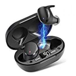 Auriculares Inalámbricos, Moosen Auriculares Bluetooth 5.0 IPX7 Impermeable, Mini Portátil Caja de Carga, HI-FI Estéreo, Control Tactil cancelación de Ruido, Control táctil para Correr Deporte