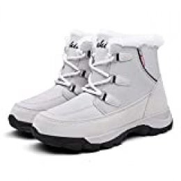 Mujer Botas para Raquetas de Nieve Zapatos Piel Cálida Exteriores Invierno a Prueba Isotherm Transpirable y Duradero 36 EU Gris,23 cm talón a los pies