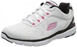 Skechers Flex Appeal 3.0-Quick Voyage, Zapatillas sin Cordones para Mujer, Multicolor Blanco Azul Hot Pink Wbhp, 40 EU