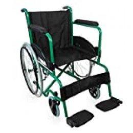 Mobiclinic, modelo Alcazaba, Silla de ruedas para minusválidos, premium, manual, plegable, ortopédica, freno en manetas, reposapiés, reposabrazos, color Verde, asiento, ultraligera