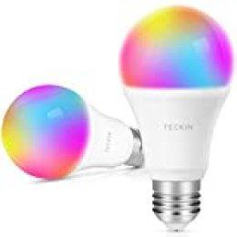 TECKIN Bombilla LED inteligente con Luz Cálida WiFi 2800k-6200k ajustable y lámpara multicolor Funciona con Google Home, E27 equivale 7.5W RGB(no se requiere hub),2 paquetes