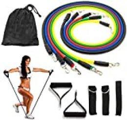 11 Piezas Bandas Elasticas Fitness Musculacion - Resistencia al Ejercicio Tubos de entrenamiento para deportes interiores o exteriores, fitness,fuerza y velocidad, gimnasio en casa o yoga