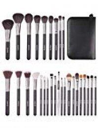 Eono Essentials 29Pcs Kit de maquillaje profesional para maquillaje de cabra con base de pelo de cabra y sombra de ojos con estuche de cuero