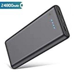 QTshine Batería externa compacto de alta capacidad con 2 USB de carga rápida Salida máxima 2.1A para teléfonos inteligentes 24800mAh Negro