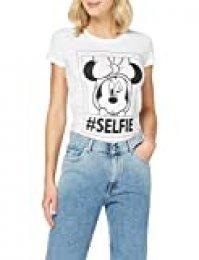 FABTASTICS Camiseta Minnie para Mujer, Blanco (White 001), Small