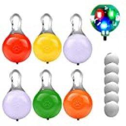 morpilot Collar LED Luz Perro, 6PCS Luces de Seguridad Coloridas para Perros y Gatos, Collar Luminoso Perro Impermeable, Colgante Luz Perro LED Noche con 3 Modos de Parpadeo (6 Baterías Adicionales)