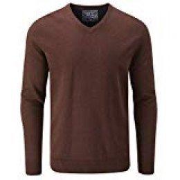 Charles Wilson Jersey de Punto Fino de Algodón Cuello Pico para Hombre (XXX-Large, Brown Rust (1119))