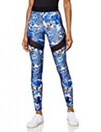 Amazon Brand - AURIQUE Legging deportivos con tejido brillante y paneles laterales para mujer, Multicolor (Azul), 42, Label:L
