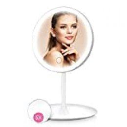HOCOSY Espejo Maquillaje con luz Espejo Maquillaje con Espejo Aumento 5X, Espejo tocador con luz,Espejo Cosmético Pantalla Táctil de Mesa con 3 Modos de Color, rotación de 90°, Carga con USB