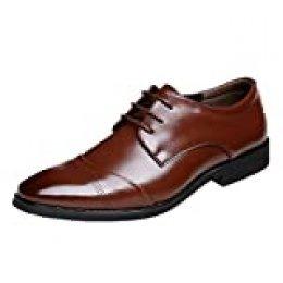 Zapatos Oxford Hombre, Cuero Vestir Cordones Derby Calzado Boda Negocios Brogue Negro Marron Rojo 37-47EU BR39