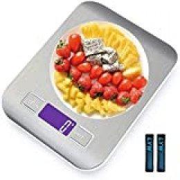 Báscula de cocina,Smart Digital Báscula con Pantalla LCD para Cocina de Acero Inoxidable, 5kg/11lbs, Balanza de Alimentos Multifuncional, Alta precisión hasta 1g, función de Tara (con 2 Baterías)-WH1