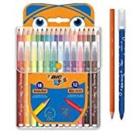 BIC Kids Kit para Colorear - 18Lápices de colores, 12rotuladores de colores, Estuche de Plástico de 30