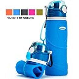 Kemier Botellas de Agua de Silicona Plegables–750ML,Calidad Médica Libre de BPA,Aprobado por FDA.Enrollarse,Botellas de Agua Plegables a Prueba de Fugas para el Aire Libre y Deportes(Azul)