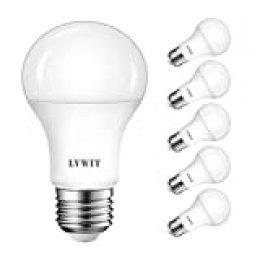 LVWIT Bombillas LED E27 (Casquillo Gordo) - 13W equivalente a 75W, 1055 lúmenes, Color blanco frío 6500K, No regulable - Pack de 6 Unidades.
