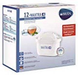 BRITA MAXTRA+ Cartuchos filtrantes compatibles con jarras BRITA que reducen la cal y el cloro, 12 filtros para el agua