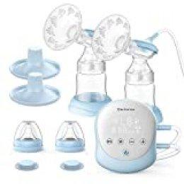 Sacaleches Eléctrico, Elechomes Bomba de Lactancia Eléctrica con Doble Succión Portátil, USB Recargable, Función de Memoria, sin BPA, Protector de Reflujo
