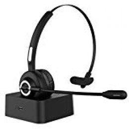 HolyHigh Auriculares Bluetooth Teléfono Micrófono Bluetooth 5.0 con Base de Carga Auriculares Diadema Cancelación de Ruido, Manos Libres para Llamdas Servicio Telefónico Oficina