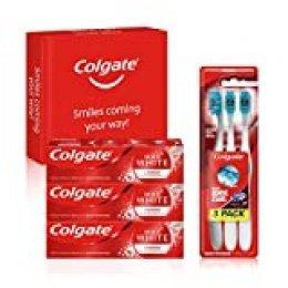 Colgate Kit Blanqueador con Pasta de Dientes Max White Luminous (3 x 75 ml) y Cepillo Blanqueador Max White One 360 (pack de 3 unidades)