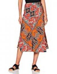 Marca Amazon - find. Falda Midi para Verano Mujer, Multicolor (Spot Print), 48, Label: 3XL