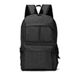 Junio1 Cierre unisex informal de cremalleras sólidas ligero con mochila de puerto de carga USB Bolsas de viaje