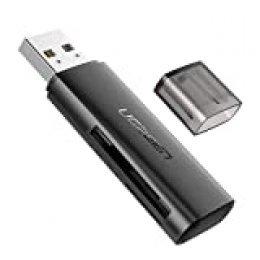 UGREEN Lector de Tarjetas SD y Micro SD de Alta Velocidad USB 2.0 Lector de Tarjetas USB 2.0 SD TF SDXC SDHC Micro SDXC Micro SDHC para PC Windows Mac OS PS4 Xbox One, Diseño Anti Pérdida