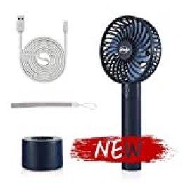 efluky Ventilador Portatil, Mini Ventilador USB, Ventilador Recargable con Banco de Potencia Extraíble 2600mAh, 5 Velocidades Ajustables, 3-9 Horas de Tiempo de Trabajo(Azul Oscuro)