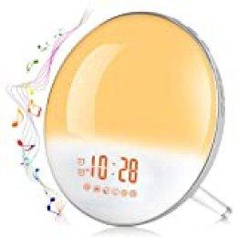 Te-Rich 2020 Wake Up Light Luz Despertador Simulación del Amanecer y Anochecer Luz LED con 2 Alarmas y 7 Sonidos Naturales,Radio FM Digital,7 colores claros,20 Niveles de Brillo