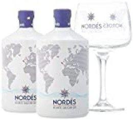 Ginebra Premium nacional Nordés Atlantic Galician Gin - Pack de 2 botellas de 70 cl + 6 Copas Nordés de regalo