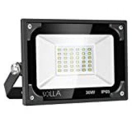 Luces de Seguridad 30W, Foco LED Súper Brillante de 2400 Lúmenes, Luz Blanca 5000K, Reflector Exterior de Paisaje para Patio Trasero Jardín Garajes Azotea Patio