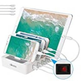 allcaca Estación de Carga USB Multifunción con 4 Puertos, Qi Certificación con Interruptor Cargador Base de Carga, Compatible con iPhone, Android, Samrtphone Galaxy Samsungs Tabletas, Incluye 4 Cables