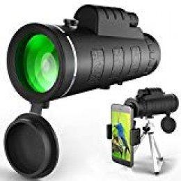 EQ9 Monocular Telescopio de Alta Potencia Monocular Alcance Impermeable Monoculares con Clip de Teléfono y Trípode para Teléfono Celular para Ave Ver