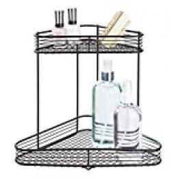 iDesign Vienna Estantería esquinera, práctica cesta de metal con dos niveles, repisas de baño para guardar cosméticos o botes de champú, negro mate, 22,9 cm x 15,5 cm x 26,7 cm