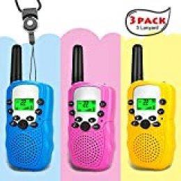 Moglor Walkie Talkie Niños 3 Pack, 22 Canales LCD Pantalla VOX Larga Distancia 3KM Walkie Talkie, Linterna Incorporado Juguete Regalo para Niños