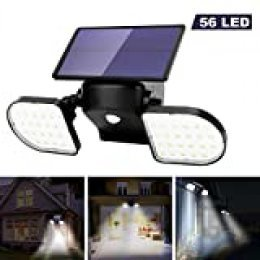 OUSFOT Luz Solar Exterior 56 LED Foco Solar con Sensor de Movimiento Lámpara Solar de Seguridad Impermeable IP65 360 ° Ajustable para Entrada Garaje Patio y Jardín