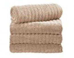 iDesign Ribbed Juego de 4 baño, algodón Grandes con diseño de Rayas, Set Suaves, Ideales como Toallas de Ducha, bañera o Sauna, Beis, 137,2 cm x 68,6 cm x 0,3 cm, 4