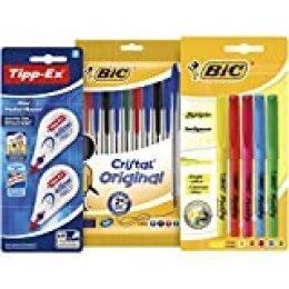 BIC y Tipp-Ex Set Vuelta al Cole de 10 Bolígrafos Surtidos, 5 Marcadores Fluorescentes y 2 Cintas Correctoras